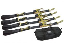 Ratchet tie downs with axle strap and bag
