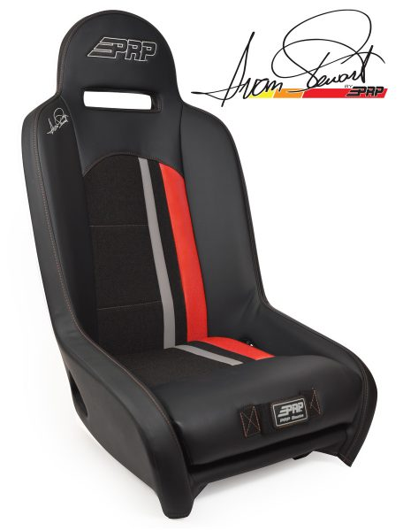 Ivan Stewart Ironman UTV Suspension Seat with red Trim and logo