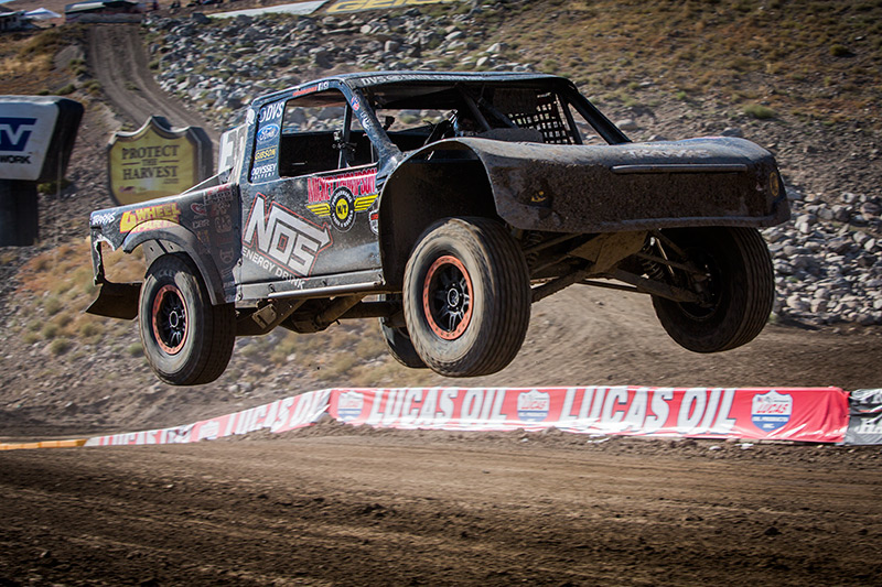 Deegan hitting the table top during the Lucas Oil Off-Road Racing series in Reno