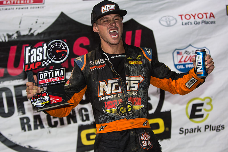 Brian Deegan took home the fastest lap trophy at Glen Helen Raceway's Lucas Oil Off-Road Racing event.