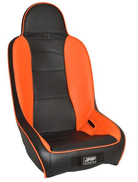 High Back suspension seat in orange and black