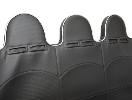 Teryx4 rear bench 3 hoop headrests with dual harness slots.