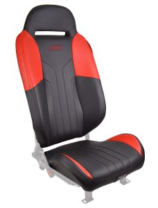 Slingshot seat with red accents