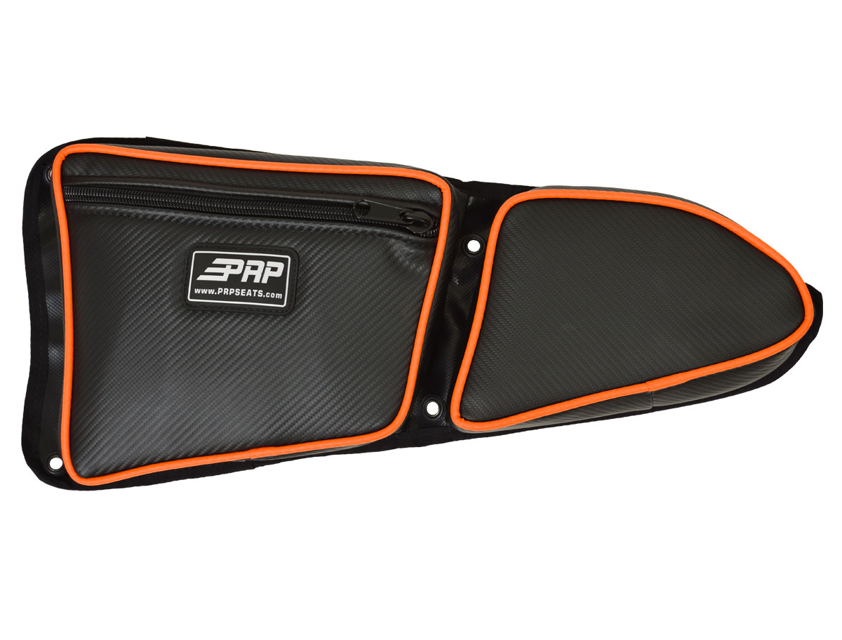 PRP Seats E36-215 Carbon Fiber Orange Driver Side Door Bag with Knee Pad