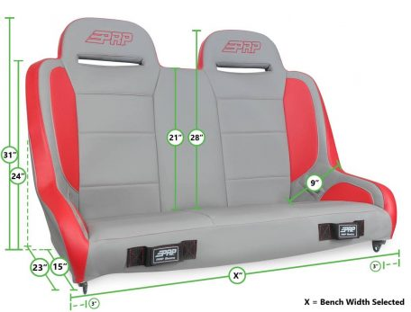 PRP Seats Elite Series Bench Measurements Graphic