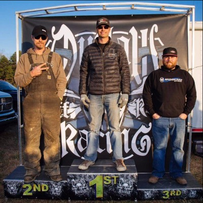 Derek West takes the podium as he wins the first Outlaw Racing series of the year at Rock Creek Off-Road Park in Booneville, Arkansas