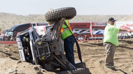Wes Miller on his side in a turn during UTV World CHampionship