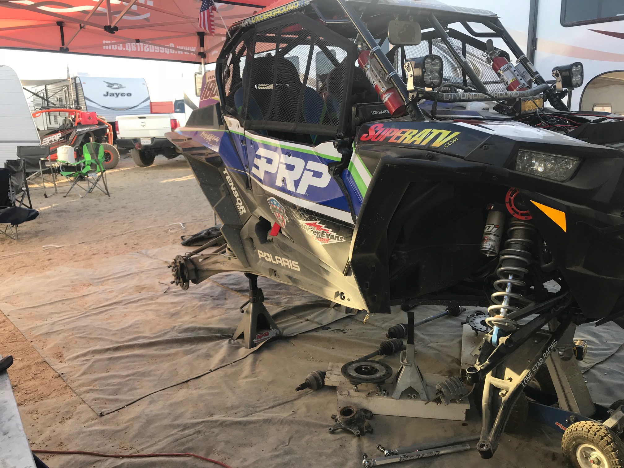 Last minute tear down on the PRP 1808 car