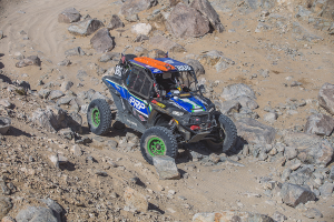 Maddie and Aaron Wedeking driving Team PRP's 1808 car at 2018's King of the Hammers
