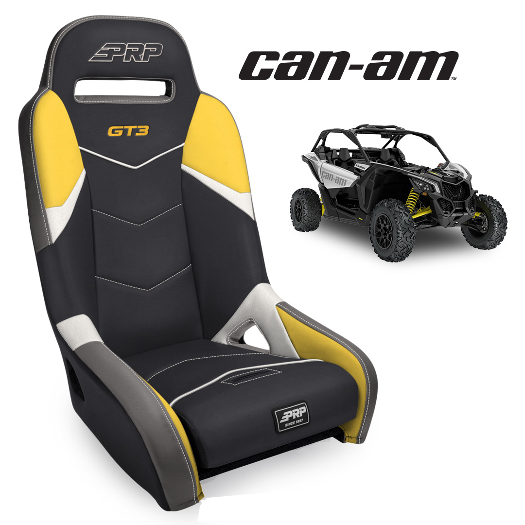 Black yellow GT3 seats with Can Am X3 in the background