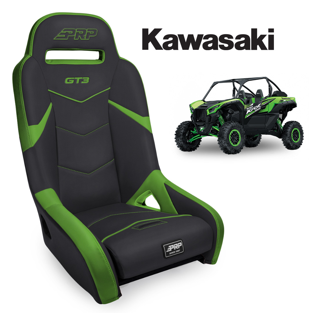Green black GT3 seat with Kawasaki KRX in the background