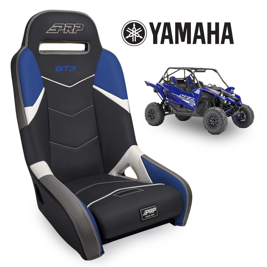 Blue black GT3 seat with Yamaha YXZ in the background