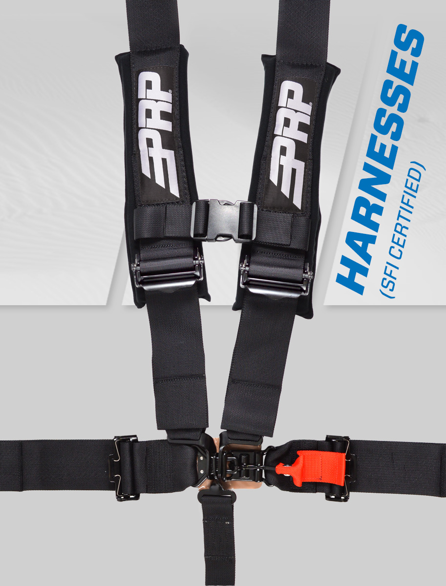 sfi certified harness on grey speed prp background