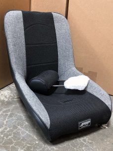 Black and Grey Tweed Roadster Seat with Adjustable Headrest Pair Warehouse Deal CSS-370
