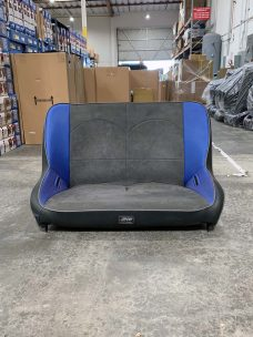 CSS-406 Jeep Wrangler Rear Bench in Blue and Grey Suede