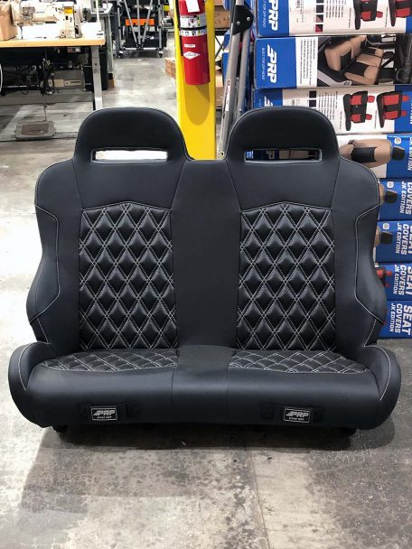 Warehouse Deal CSS-417 - Black and Silver diamond stitch seat