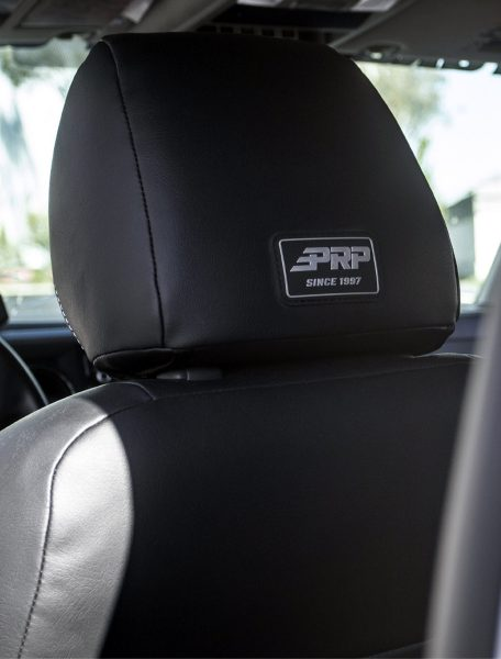 Second view of the PRP Logo on the back of the headrest of our seat covers for Tacoma and Jeeps