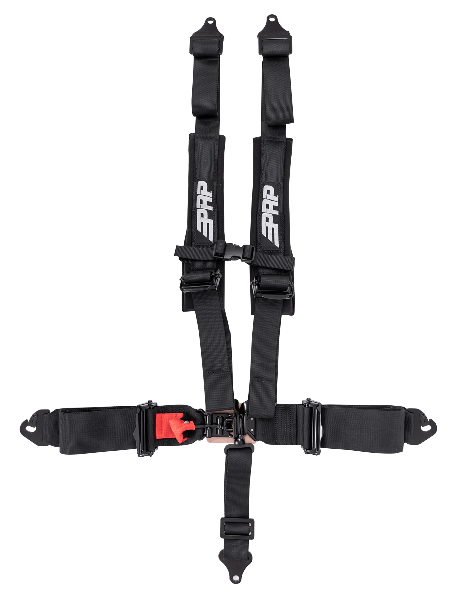 PRP 5 point harness with 3 inch lap and 2 inch shoulder straps. Clip in attachments