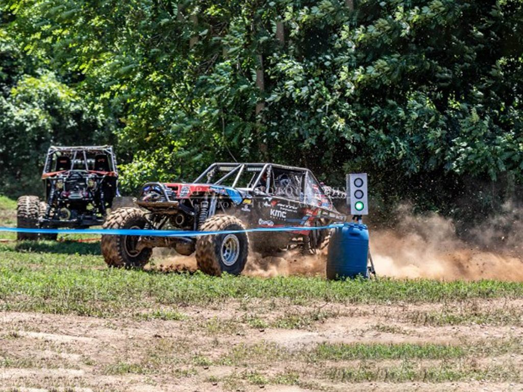 Buggy at starting position about to begin race